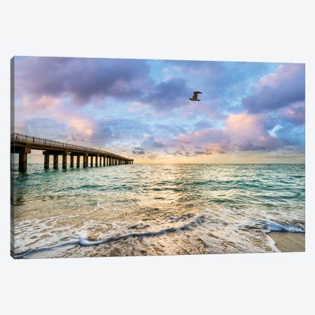 Relaxing Morning At The Beach,North Miami Beach Florida Canvas Print #SKR499} by Susanne Kremer Canvas Wall Art