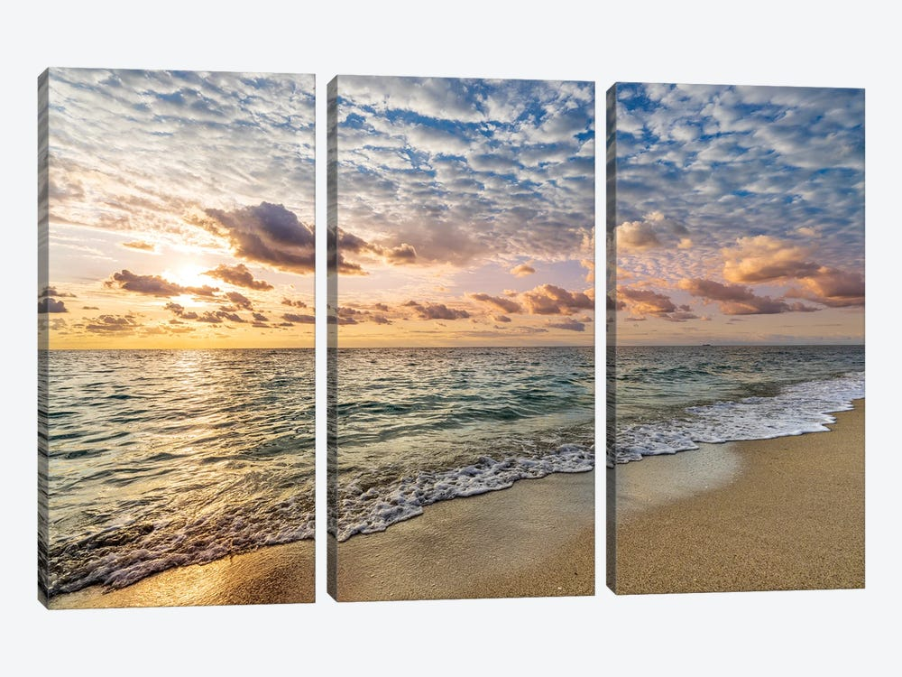 Soft Sunrise Miami Beach,Florida by Susanne Kremer 3-piece Canvas Print