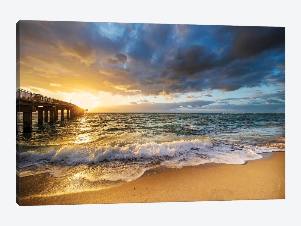 Stormy Dramatic Sunrise, North Miami Beach Florida by Susanne Kremer 1-piece Art Print