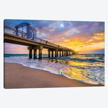 Colorful Sunrise With Beach Pier, Miami Beach Florida Canvas Print #SKR503} by Susanne Kremer Canvas Wall Art