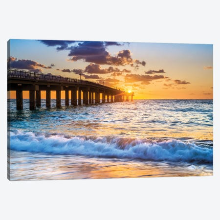 Sunrise With A Starburst Colorful, Miami Beach Florida Canvas Print #SKR506} by Susanne Kremer Canvas Art Print