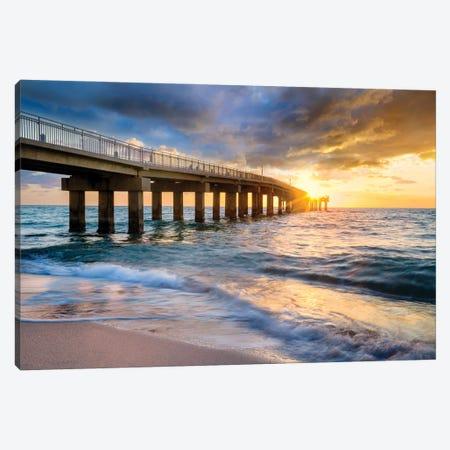 Stormy And Sunny Sunrise Miami Beach Florida Canvas Print #SKR507} by Susanne Kremer Canvas Print