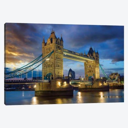 Tower Bridge At Night, London United Kingdom Canvas Print #SKR510} by Susanne Kremer Canvas Print