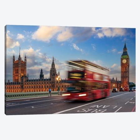 Red Bus Driving Along Big Ben In The Evening,London United Kingdom Canvas Print #SKR513} by Susanne Kremer Canvas Art Print