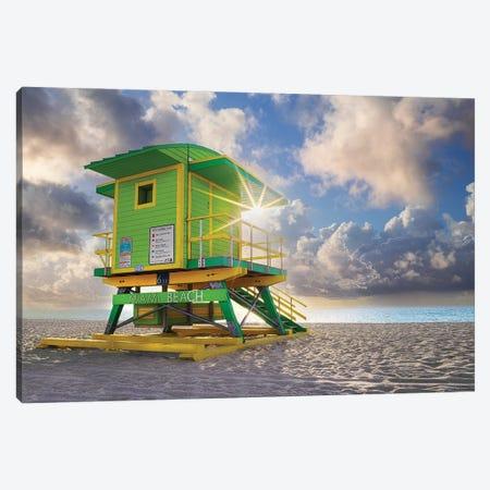 South Beach Miami Florida Sun Burst Canvas Print #SKR515} by Susanne Kremer Canvas Wall Art