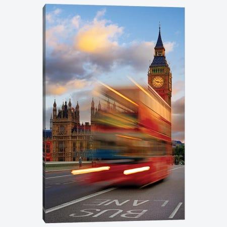 Red Buss and Big Bin,Timewarp,London UK Canvas Print #SKR518} by Susanne Kremer Canvas Print
