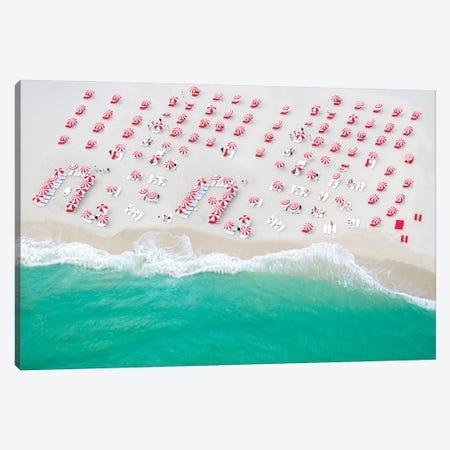Beach Candy, Red And White Beach Umbrellas, Miami Florida Canvas Print #SKR524} by Susanne Kremer Art Print