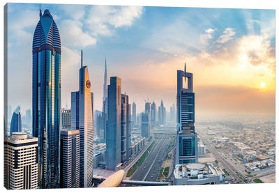 Dubai Skyline and Sheik Zayed Road I Canvas Art Print