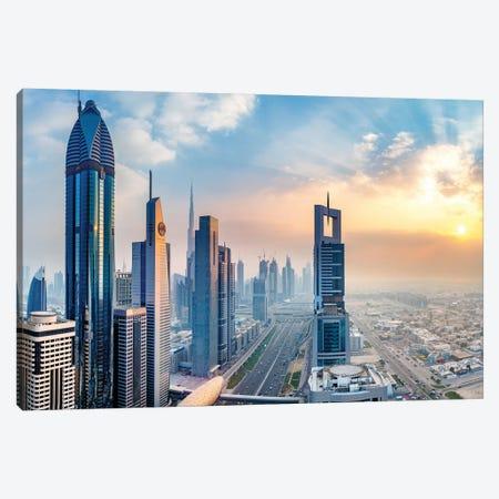 Dubai Skyline and Sheik Zayed Road I Canvas Print #SKR58} by Susanne Kremer Canvas Art Print