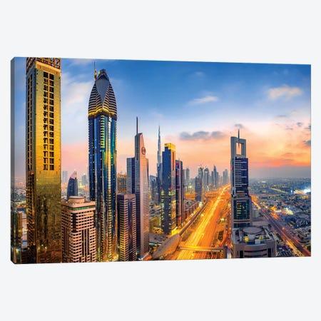 Dubai Skyline and Sheik Zayed Road II Canvas Print #SKR59} by Susanne Kremer Canvas Art Print