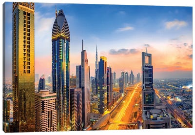 Dubai Skyline and Sheik Zayed Road II Canvas Art Print