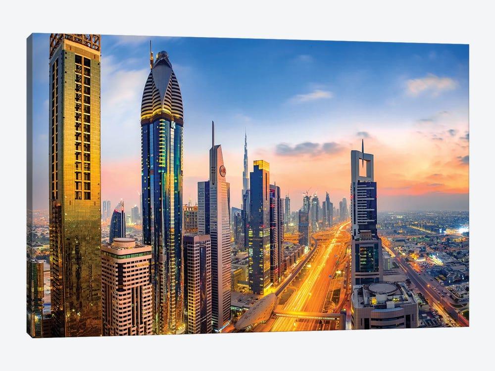 Dubai Skyline and Sheik Zayed Road II by Susanne Kremer 1-piece Canvas Print