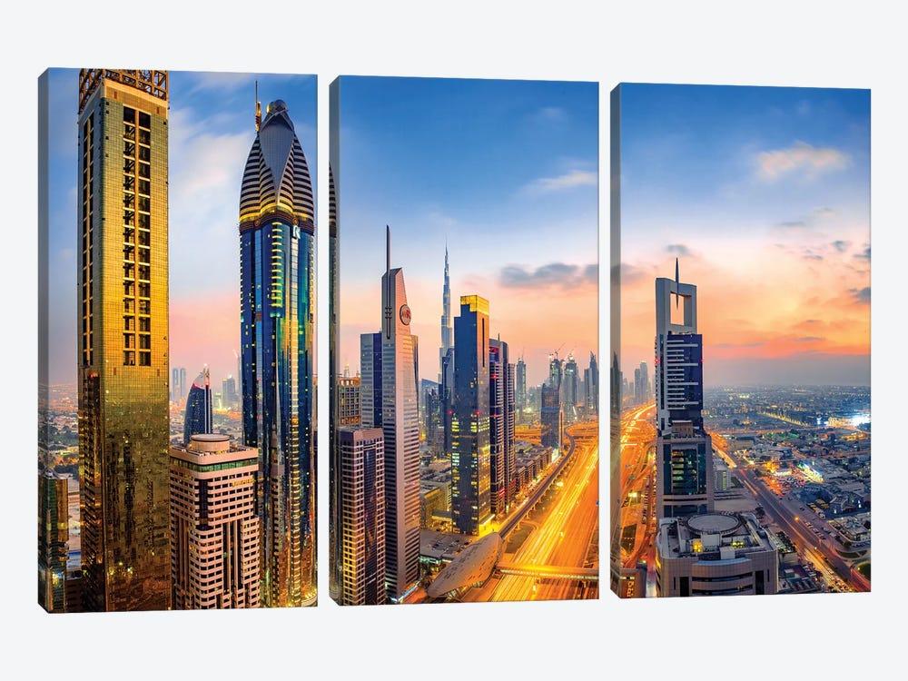 Dubai Skyline and Sheik Zayed Road II by Susanne Kremer 3-piece Art Print