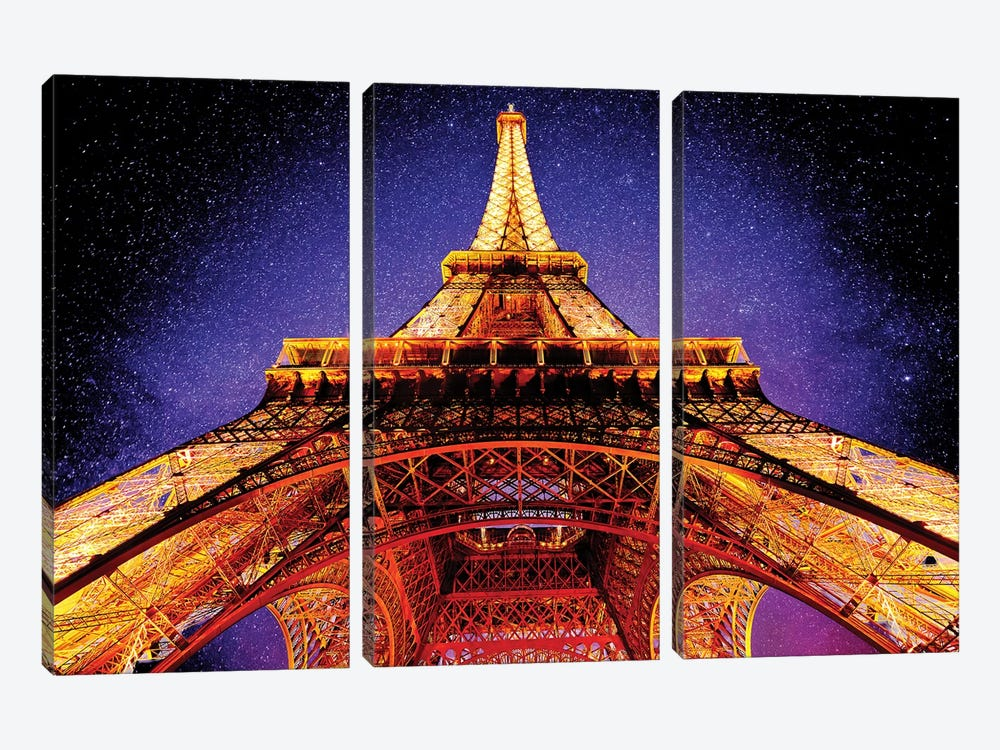 Eiffel Tower At Night 3-piece Canvas Wall Art