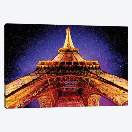 Eiffel Tower At Night Canvas Print #SKR63} by Susanne Kremer Canvas Wall Art