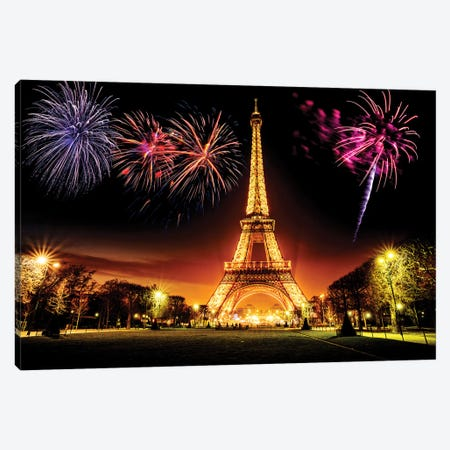 Eiffel Tower Illuminated At Night  Canvas Print #SKR64} by Susanne Kremer Canvas Print