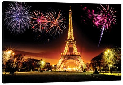 Eiffel Tower Illuminated At Night  Canvas Art Print