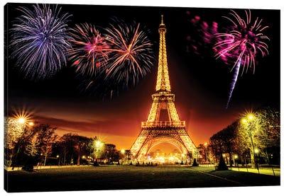 Eiffel Tower Illuminated At Night  Canvas Art Print