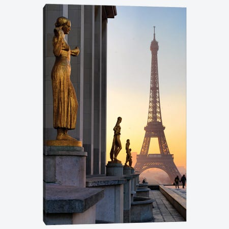 Eiffel Tower Sunrise From The Troqadero  Canvas Print #SKR65} by Susanne Kremer Art Print