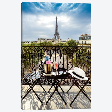Eiffel Tower, Champ de Mars, Rose Champagne on Balcony Canvas Print #SKR67} by Susanne Kremer Canvas Print
