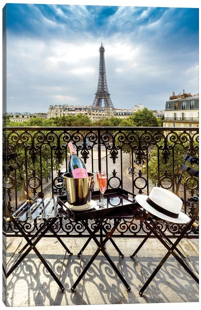 Eiffel Tower, Champ de Mars, Rose Champagne on Balcony Canvas Art Print