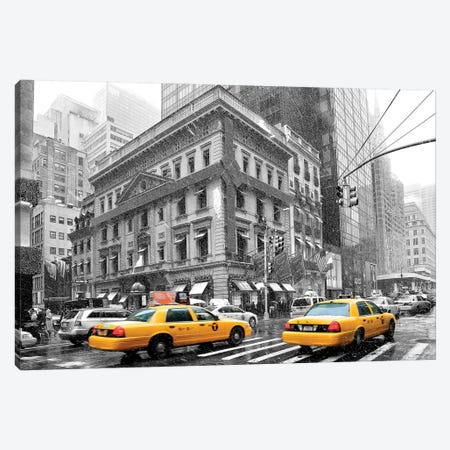 Fifth Avenue Yellow Cab  3-Piece Canvas #SKR71} by Susanne Kremer Art Print