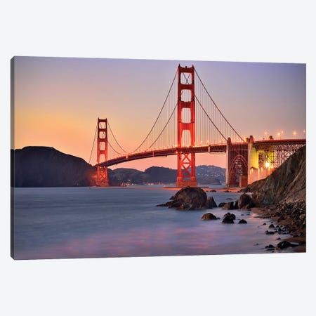 Golden Gate Bridge,Marshall Beach sunset  Canvas Print #SKR74} by Susanne Kremer Canvas Wall Art