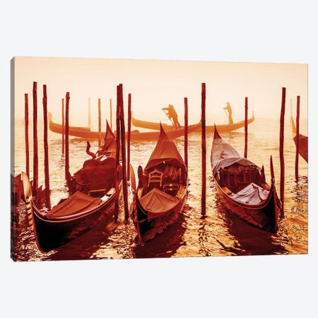 Gondolieri, Grand Canal in the Fog  Canvas Print #SKR75} by Susanne Kremer Canvas Artwork