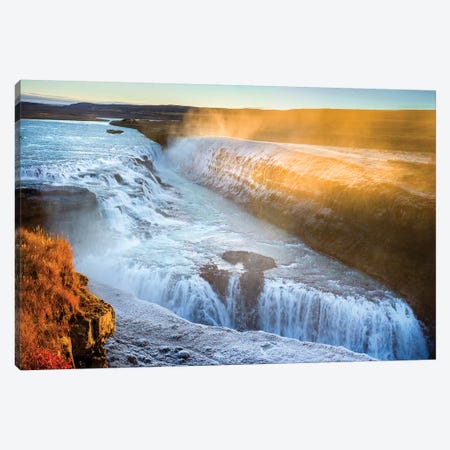 Gullfoss Waterfall Golden Circle  Canvas Print #SKR80} by Susanne Kremer Canvas Artwork
