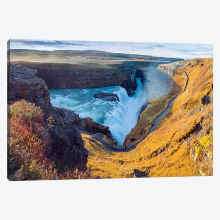 Gullfoss Waterfall Golden Circle  Canvas Print #SKR81} by Susanne Kremer Canvas Wall Art