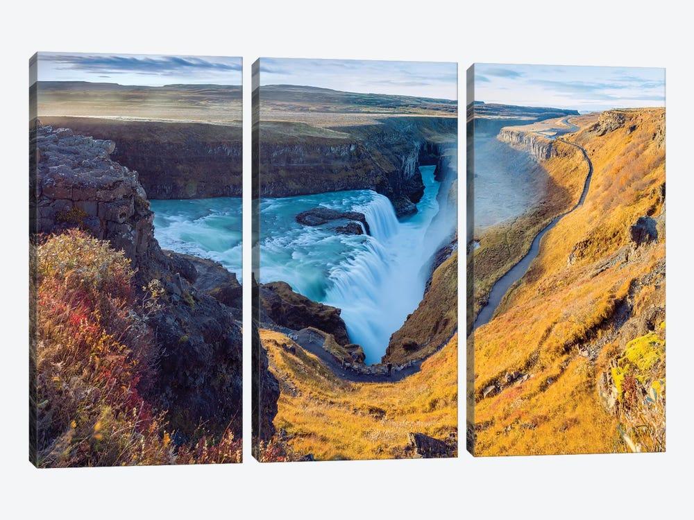 Gullfoss Waterfall Golden Circle  by Susanne Kremer 3-piece Canvas Wall Art
