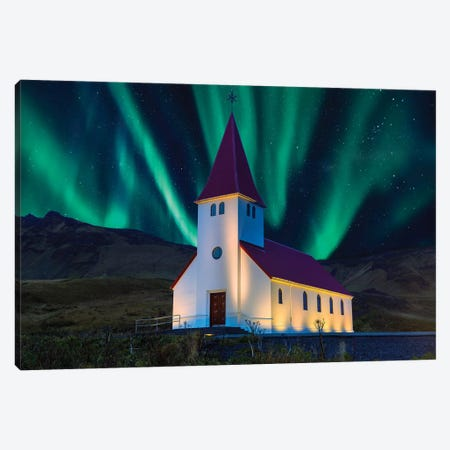 Aurora Boreallis with Church  Canvas Print #SKR8} by Susanne Kremer Canvas Wall Art
