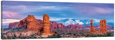 Balanced Rock and La Sal Mountains  Canvas Art Print