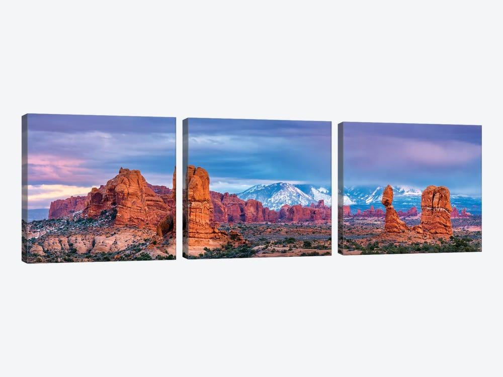 Balanced Rock and La Sal Mountains  by Susanne Kremer 3-piece Canvas Print