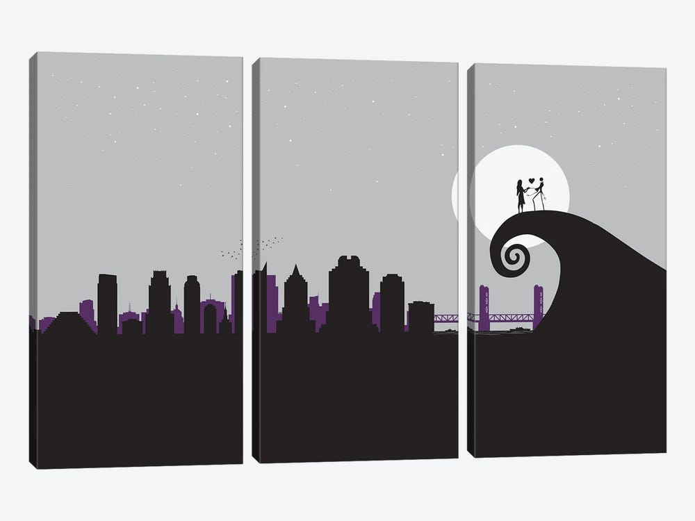 A nightmare in Sacramento by SKYWORLDPROJECT 3-piece Canvas Wall Art
