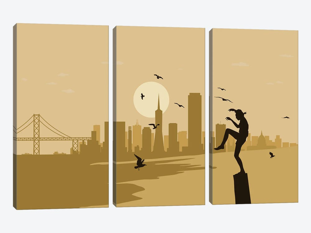 San Francisco Karate by SKYWORLDPROJECT 3-piece Canvas Art Print