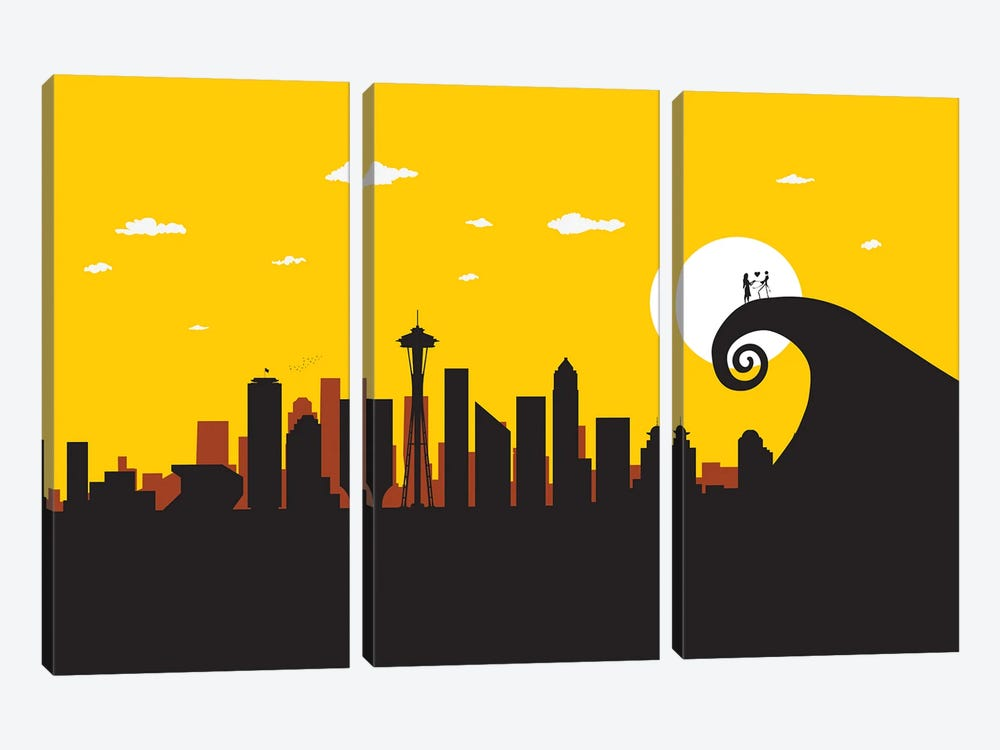 Seattle's Nightmare by SKYWORLDPROJECT 3-piece Canvas Art Print