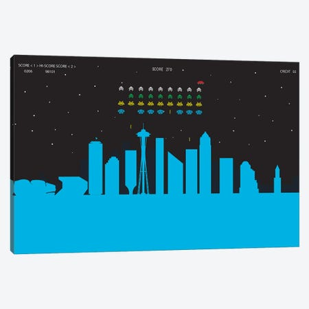 Seattle Invaders Canvas Print #SKW117} by SKYWORLDPROJECT Canvas Artwork