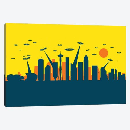 Seattle's UFO Canvas Print #SKW118} by SKYWORLDPROJECT Art Print