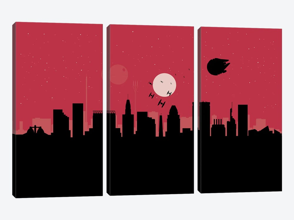 Baltimore Spaceships by SKYWORLDPROJECT 3-piece Canvas Artwork