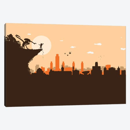Albany NY. Aliens Battle Canvas Print #SKW133} by SKYWORLDPROJECT Canvas Print