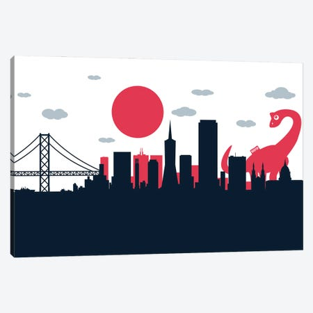 Dinosaur Playing San Francisco Canvas Print #SKW139} by SKYWORLDPROJECT Art Print