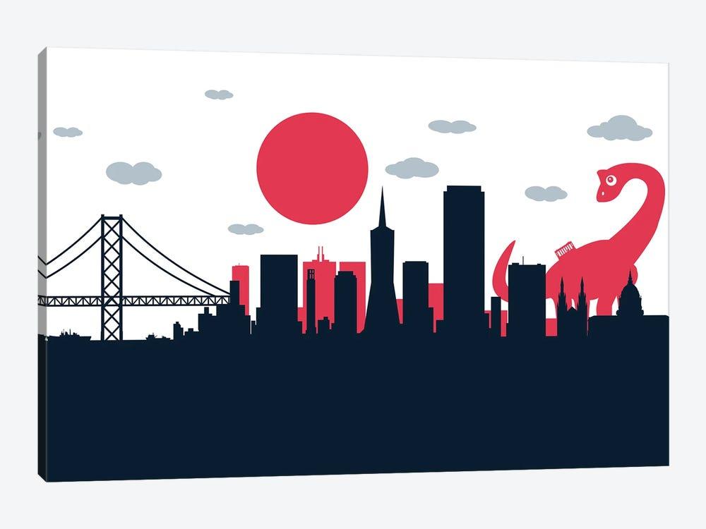 Dinosaur Playing San Francisco by SKYWORLDPROJECT 1-piece Canvas Wall Art