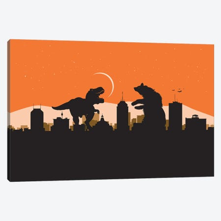 Fresno Bear fight Canvas Print #SKW13} by SKYWORLDPROJECT Canvas Art
