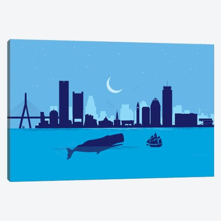 Boston Whale Canvas Print #SKW15} by SKYWORLDPROJECT Canvas Art Print