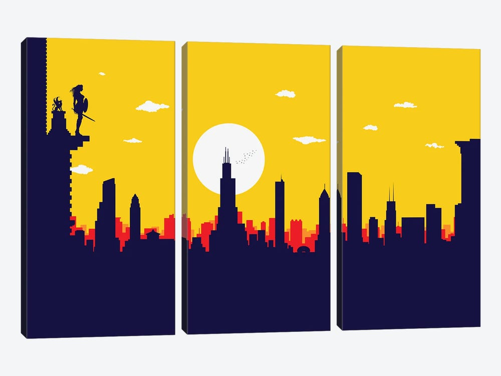 Chicago's Wonder Hero by SKYWORLDPROJECT 3-piece Canvas Wall Art