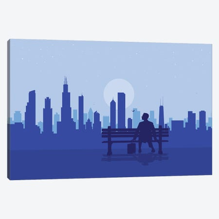 Chicago's Bench Story Canvas Print #SKW24} by SKYWORLDPROJECT Canvas Art