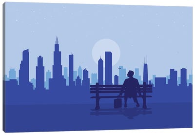 Chicago's Bench Story Canvas Art Print