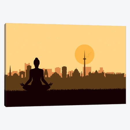 Delhi Meditation Canvas Print #SKW31} by SKYWORLDPROJECT Canvas Artwork