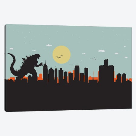 Detroit Monster Canvas Print #SKW40} by SKYWORLDPROJECT Art Print